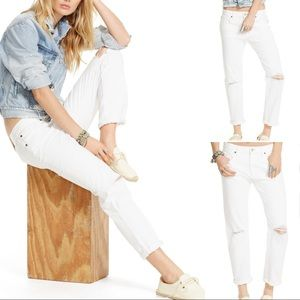 Denim & Supply RL Distressed White Boyfriend Jeans
